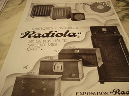 ANCIENNE PUBLICITE RADIOPHONE EXPOSITION RADIOLA  1929 - Posters