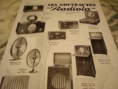 ANCIENNE PUBLICITE LES NOUVEAUTES  RADIOLA  1929 - Plakate & Poster