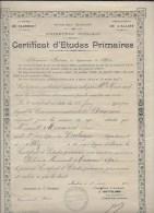 Certificat étude Primaire 1922 - Diploma & School Reports