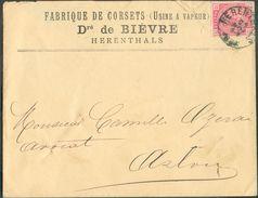 N°38 - 10 Centimes Rose Obl. Sc HERENTALS  Sur Lettre Du 25 Novmebre 1881 Ver Arlon (exp. Fabrique De Corsets Dr De BIEV - 1883 Léopold II