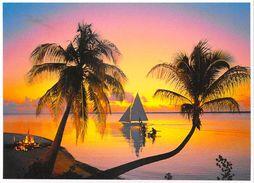 Polynésie Française Coucher De Soleil Dans Les îles Sunset (arbres Trees Voilier) (TEVA SYLVAIN 861 Tahiti )*PRIX FIXE - Polynésie Française