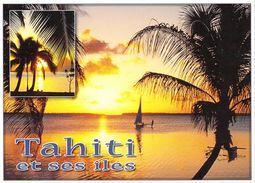 Polynésie Française Coucher De Soleil Sur TAHITI Et Ses îles Sunset (arbres Trees Voilier) (T. SYLVAIN 1547 )*PRIX FIXE - Polynésie Française