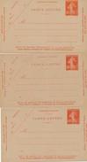 BI-154 : FRANCE:  Lot Avec 3 Entiers Neufs Carte Lettre N°194 Avec N° 620-621-627 - Postal Stamped Stationery