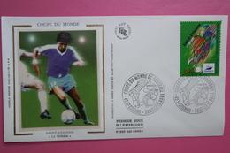 1996  FDC Sur Soie Coupe Du Monde Football Ballon Dribble Saint Etienne (Y&T 3012) - Copa Mundial