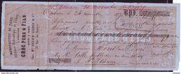 """Quittance """"Filature Hydraulique De Laines Croc Père Et Fils"""" - Saint-Etienne ( G 91) - 1853-1860 Napoleon III"""