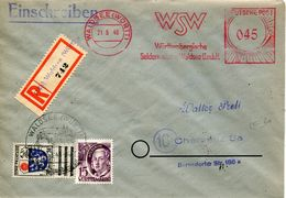 23630 Germany Wurttemberg Cover Registered   1948 Red Meter/freistempel/ema/waldsee,seta,soie,silk,seide - Textile
