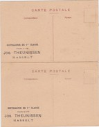 HASSELT-DISTILLERIE-DE 1RE CLASSE-JOS.THEUNISSEN-FONDEE EN 1787-2 ZELDZAME RECLAMEKAARTEN-NIET VERSTUURD-ZIE 2 SCANS ! ! - Hasselt