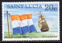 St. Lucia 1998-2001 Ships & Flags 20c Value, 2001 Imprint, Wmk. Multiple Crown CA, MNH (SG 1184) - St.Lucie (1979-...)