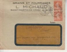 Lettre+Courrier 14,5x11,5cm-Michaud Grains Et Fourrages St Martin De Crau. - Vieux Papiers