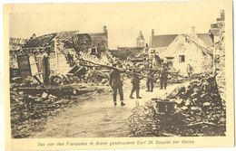 Saint-Souplet-sur-Py Bei Reims Animee Rue Du Village Soldats Allemand Grande Guerre 14.18 Non Circulee Tres Bien Etat - Reims