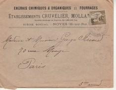 Lettre 14,5x11,5cm-Ets Cruvelier Mollan à Noves-Engrais Chimiques. - Vieux Papiers