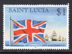 St. Lucia 1998-2001 Ships & Flags $1 Value, 2001 Imprint, Wmk. Multiple Crown CA, MNH (SG 1192) - St.Lucia (1979-...)