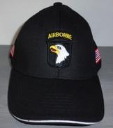 Casquette Noire AIRBORNE 101st SCREAMING EAGLES JEEP CAP US VO MILITARIA US PARA - Casques & Coiffures