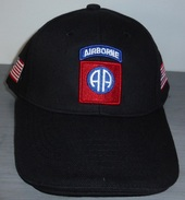 Casquette Noire AIRBORNE 82 Nd ALL AMERICAN Paratrooper JEEP CAP US VO - Casques & Coiffures