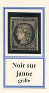 FRANCE- Y&T N°3b)- Noir Sur Chamois- Oblitération Grille (très Beau!!!!) - 1849-1850 Cérès