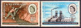 RHODESIA & NYASALAND 1961 SG #38-39 Compl.set MH Mining & Metallurgical Congress - Rhodesia & Nyasaland (1954-1963)