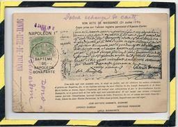 TYPE PRECURSEUR. - . NAPOLEON Ier - SON ACTE DE NAISSANCE 21 JUILLET 1770. 1902. TAMPON SAINTE LUCIE DE TALLANO - Personajes Históricos