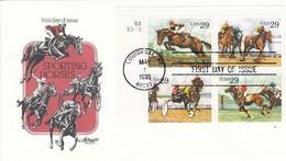 """USA Kpl. Satz FDC Pferdesport 1993 - """"Louisville KY May 1 1993"""" Ersttag Gestempelt - Briefe U. Dokumente"""