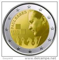 """Pièce Commémorative 2 Euro UNC Estonie 2016 """"  100 éme Anniversiare De La Naissance DePaul Kérès """" - Estland"""