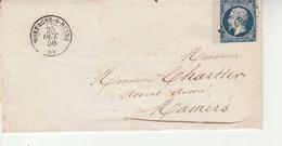 No 14A Sur Lettre PC 2169 Mortagne Sur Huisne Pour Mamers 1856. - Marcophilie (Lettres)