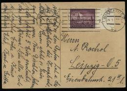 WW II GG Generalgouvernement Polen EF Auf Postkarte: Gebraucht Warschau - Leipzig 1942 , Bedarfserhaltung. - Briefe U. Dokumente