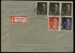 WW II GG Generalgouvernement Hitler Polen R - Briefumschlag E - Werk: Gebraucht Warschau - Krakau 1943 , Bedarfserhalt - Briefe U. Dokumente