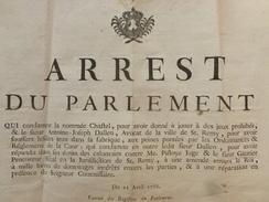 PLACARD St REMY DE PROVENCE JEUX PROHIBES ARREST DU PARLEMENT  1766 - Historische Documenten