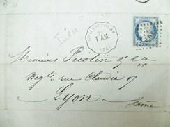 Lettre Avec Cérès N° 60C TAD Convoyeur Station Guillaucourt ( 76) Vers Lyon Indice 11 - Marcophilie (Lettres)
