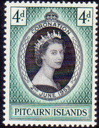 PITCAIRN ISLANDS 1953 SG #17 4d MNH Coronation - Stamps
