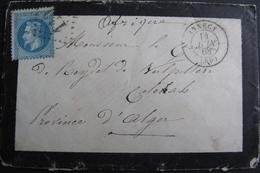 LOT R1861/622 - NIII Lauré N°29A (LETTRE) ANNECY (Haute Savoie) 14 JUIN 1868 > ALGER (ALGERIE) - 1863-1870 Napoleon III With Laurels