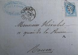 """LOT R1861/623 - NIII Lauré N°29B (LETTRE) AMBULANT """" HP2° """" + CàD LE HAVRE à PARIS 21/10/1868 - 1863-1870 Napoleon III With Laurels"""