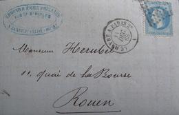 LOT R1861/632 - NIII Lauré N°29B (LETTRE) AMBULANT LE HAVRE à PARIS 11 DEC 1868 - DIEPPE > CAEN - 1863-1870 Napoleon III With Laurels