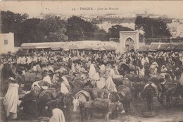 Maroc - ânes - âne   -  Tanger + SAFI - Lot De 2 CPA  - Safi Entrée De La Ville + Tanger Marché . Voir 2 SCANS - Maroc