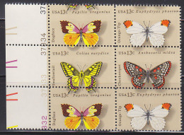 U.S.A. (1977) Butterflies*.  Plate Number Block Of 6 Misperforated So That The Value And Part Of The Upper Stamp Appears - Butterflies