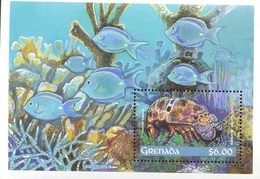 MINT NEVER HINGED SOUVENIR SHEET OF FISH-MARINE LIFE  #   290-2  ( GRENADA - Fishes