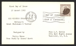 Canada Sc# 440 (no Cachet) FDC Single (b) 1965 8.12 Sir Winston Churchill - First Day Covers