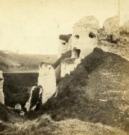 France Dieppe Ruines Du Château D'Arques-la-Bataille Ancienne Stereo Photo 1860 - Stereoscopic
