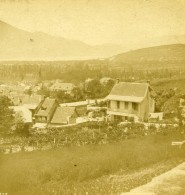 France Savoie Panorama Depuis Hotel Du Lac Du Bourget ? Ancienne Stereo Photo 1870 - Stereoscoop