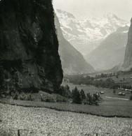 Suisse Lauterbrunnen La Vallée Superieure Ancienne Stereo Photo 1900 - Photos Stéréoscopiques