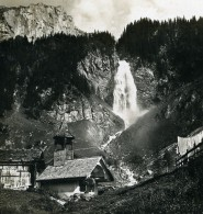 Suisse Klausenstrasse Les Chutes Cascade Staubefall Ancienne Stereo Photo Wehrli 1900 - Photos Stéréoscopiques