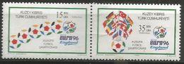 Cyprus (Turkish) - 1996 European Soccer Championship Pair MNH **  SG 430a   Sc 422a - Cyprus (Turkey)