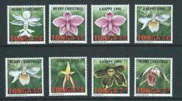 Tonga 1995 Christmas & New Year Orchid Flower Set Of 8 Specimen Overprints MNH - Tonga (1970-...)