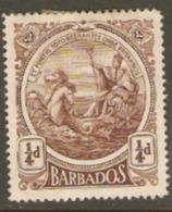 Barbados 1916  SG 181 1/4d Mounted Mint - Barbados (...-1966)