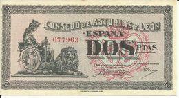 ESPAÑA BILLETE DE 2 PESETAS  ( CONSEJO DE ASTURIAS Y LEON ) ( SIN CIRCULAR) - 1-2 Pesetas
