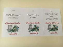 4519 - Mariage Claudia & Nicolas 4 Juillet 1998 Chardonnay Pinot Noir Et Petite Arvine 3 étiquettes Autocollantes Neuves - Etiquettes