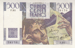 Billet 500 F Chateaubriand Du 12-9-1946 FAY 34.6 Alph. F.93 NEUF - 1871-1952 Circulated During XXth
