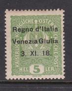 Venezia Giulia N2 1918 Austrian Stamps Overprinted 5h Green Mint Hinged - 8. WW I Occupation