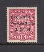 Venezia Giulia N14 1918 Austrian Stamps Overprinted 1 K Carmine Mint Hinged - 8. WW I Occupation