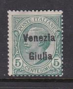 Venezia Giulia N22 1918 Italian Stamps Overprinted 5c Green Mint Hinged - 8. WW I Occupation