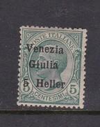Venezia Giulia N31 1918 Italian Stamps Overprinted 5h On 5c Green Mint Hinged - 8. WW I Occupation